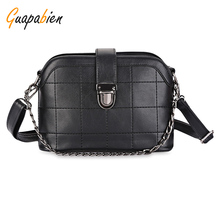 Guapabien 2017 Women Plaid Shoulder Bag Waterproof PU Leather Chain Bag Small Shell Shape Metal Hasp Mini Handbag Fashion(China)