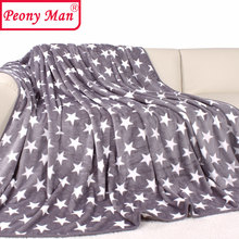 High Quality!! Flannel Blanket Adult Thick Warm Spring Star Cover Quilt Home Super Soft Plaid Fleece Brand Blankets On The Bed