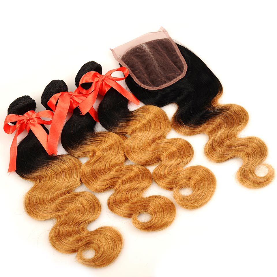 Pinshair Pre-Colored T1B 27 Peruvian Body Wave 3 Bundles With Closure Ombre Human Hair Bundles With Closure Non Remy Extensions (28)