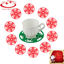 10pcs/lot Coaster Merry Christmas Snowflakes Cup Pad Mat Dinner Party Dish Tray Kitchen Table Mat Christmas Decor Insulation Pad(China)