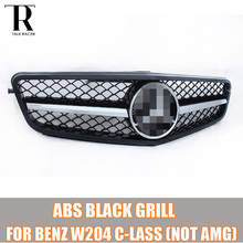 W204 Black ABS C-Class Front Bumper Grill Grille for Mercedes Benz W204 C-CLASS C180 C200 C260 C300 ( not for AMG ) 07 - 14
