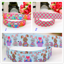 7/8'' Free shipping easter rabbit printed grosgrain ribbon hair bow headwear party decoration wholesale OEM 22mm H5525(China)