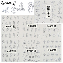 Rolabling Silver nail sticker water transfer nail design for women nail art stickers decal on finger nail decoration