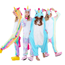 Nieuwste Volwassenen Pyjama All in One Pyjama Animal Pak Cosplay Vrouwen Winter Garment Leuke Cartoon Animal Eenhoorn Pyjama Sets(China)