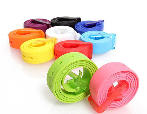 Candy Color Adjustable Belts For Men Rubber Leather Smooth Buckle Silicone Belts Men High Quality Belts