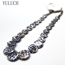 YULUCH Necklace Natural 쉘 Material 염색 레오파드 (snow leopard) (eiffel tower) 패턴 2 색 New Design Fashion Jewelry Lady's Jewelry accessories(China)