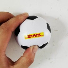 6.3cm dia DHL LOGO printed pu foam football stress ball,soccer stress ball,promotion gifts,in printing DHL logo