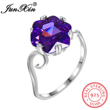 JUNXIN Charming Hexagon Purple Birthstone Rings For Women 100% Real 925 Sterling Silver Ring Female Wedding Bands Birthday Gifts