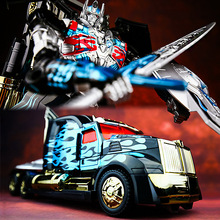 KBB Children Toys Movie Action Figure Transformation Car Models Deformation Robots AD31 Dark Black Edition Peterbilt Truck 30cm(China)