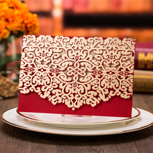 1pcs Sample Red Laser Cut Flower Hollow Marriage Wedding Invitations Cards 3D Card Greeting Cards Postcard Event Party Supplies