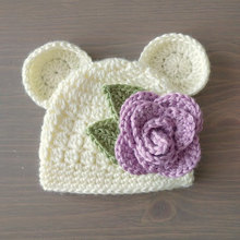 Crochet Baby Bear Beanie With Flower, Crochet Bear Hat, Baby Bear Beanie, Baby Girl Newborn Hat(China)