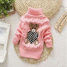BibiCola Baby Girls Boys Autumn Winter Cartoon Sweaters Children Kids Knitted Pullover Warm Outerwear Kids Turtleneck Sweater(China)