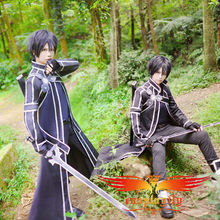 Hot Sale Sword Art Online Kazuto Kirigaya Cosplay Costume Men Outfit Clothing Adult Shoe Boots Wig and Free Wig Cap(W0088/J0019)(China)
