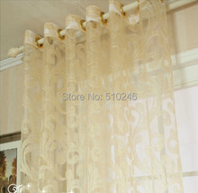 beige color day curtain sheer door window screening drape hook style day curtain tulle