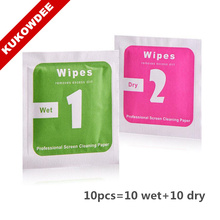 Hot Sale 10pcs/lot =10 Wet+ 10 Dry Camera Lens LCD Screens Dust Removal For Camera For Phone Wet Dry Cleaning Cloth Wipes Papers