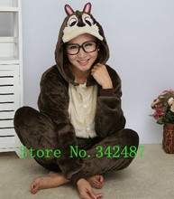 Unisex Brown Chipmunk Costume Kawaii Animal Hoodies Pajamas Causal Lounge Sleepwear S M L XL