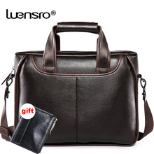 Men Business Briefcase Leather Genuine Large Capacity Laptop office Leather Bags Men Vintage Messenger Bags Briefcase Male