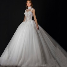 2016 Exquisite High Collar Appliqued Beaded Pearls Sleeveless Sheer Ball Gown Puffy Wedding Dresses