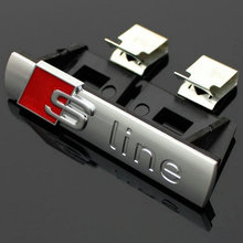 10pcs 3D Metal Sline Sticker Car Front Grille Adhesive Emblem Badge Accessories Styling For Audi A1 A3 A4 B6 B8 B5 B7 A5 A6 C5
