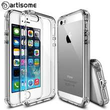 Anti-knock Case For iPhone 5S 5 SE Cover Crystal Clear Acrylic + Silicone TPU Case For iPhone 5 5S SE Phone Cover Coque ARTISOME(China)