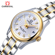 Carnival ladies automatic mechanical watch fashion casual night light waterproof steel strip female watch free delivery