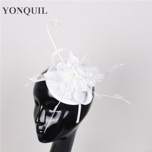 NEW ARRIVAL 17color imitation sinamay fascinator hat white cocktail hat bridal wedding headwear Derby occasion hair accessories(China)