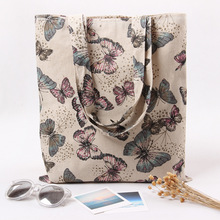 YILE Cotton Linen Eco Reusable Shopping Shoulder Bag Tote Butterfly L230 NEW