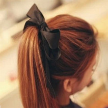 Women Hair Styling Tool Hair Accessories1 Pcs Women Satin Ribbon Bow Hair Band Rope Scrunchie Ponytail Holder Green Black Pink