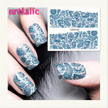1 sheet Water Transfer Nail Art Sticker Decal Blue Mandala 3D Print Manicure Tips DIY Nail Foils Decorations 132