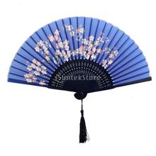 SPMART Women Ladies Sakura Flower Pattern Silk Bamboo Hand Fan Japanese Folding Fan Free Shipping