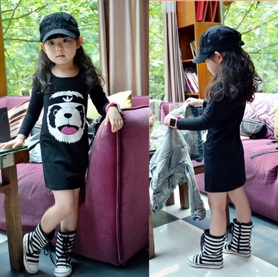 new 2016 summer spring 3-8 years child clothing children clothes girl dress bear dresses baby dress t shirt<br><br>Aliexpress