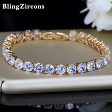 Buy BlingZircons 6 Color Gold Color Round Cubic Zirconia Crystal Tennis Bracelets Bangles Bridal Wedding Party Jewelry Gift B019 for $6.77 in AliExpress store