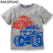 SAILEROAD Cartoon Vehicles Children T Shirts Boys T Shirt Girls Tops Blouses Baby Kids t-shirt Clothes Infants Party Costume(China)