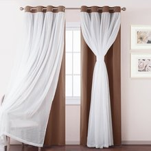 Mix and Match Windows Treatment -NICETOWN White Sheer Voile Blackout Curtains Thermal Insulated Top Chrome Ring Drapes for Room