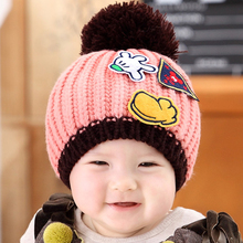 Baby Winter Cap with Big Bobble and Palm Pattern Kids Boys Girls Children Crochet Knitted Hat