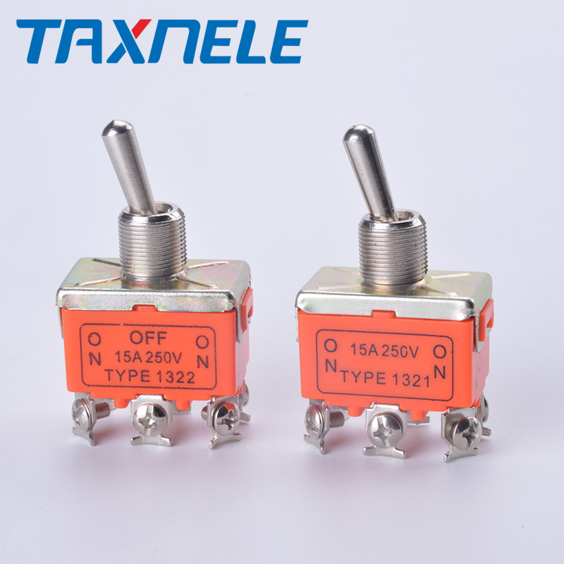 1Pc AC 250V 15A ON//ON 2 Positions DPDT 6 Screw Pin Toggle Switch E-TEN 1321