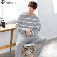 JRMISSLI winter Home Clothong Men Striped Pijama cotton Sleepwear Suits autumn long sleeve pyjama homme loose pajamas