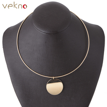 VEKNO Gold Color Sequins Collar Torques Necklaces Metal Choker Punk Style 90s Fashion Round Personalized Bib Necklace For Women