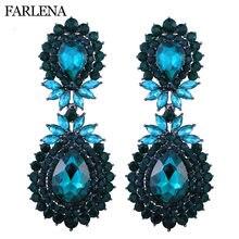 FARLENA Jewelry Luxury Full Rhinestones Water Drop Earrings for Women Wedding  Dancing Accessory Fashion long Crystal Earrings 7f70304d074c