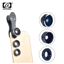 Apexel Universal 3 in 1 Cell Phone Camera Lens Kit 198 Fish Eye Lens/2 in 1 15X Macro Lens & Wide Angle Lens With Clip Hot Sale