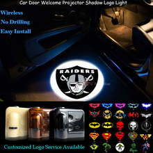 2x Oakland Raiders Logo Car Door Welcome Wireless Senor Ghost Shadow Puddle Spotlight Laser Projector LED Light (NFL12)