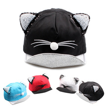 Cartoon Cat Baby Caps New Soft Cotton Baby Hat With Ears Summer Sequins Caps For Girls 2017 Summer Autumn Baby Boys Sun Hats