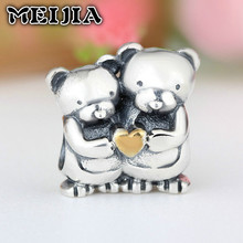 925 Sterling Silver Teddy Bear Charm Beads Hug Gold Plated Heart Fit Original Pandora Bracelets DIY Jewelry Making