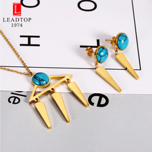 New Arrived Pop Gold Triangle with Turquoises Jewelry Sets In Stainless Steel,Jewelry Set with Delicate Stone For Her