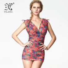 Brand Vintage Ruffle Women Summer Digital Printed Skirt Swimwear High Quality Scrunch Swim Dress One Piece Swimsuits Monokinis