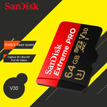 SanDisk Extreme Pro micro SD Card 64GB microSDXC UHS-I Memory Card microSD Card TF Card 32GB 128GB Class10 U3 With SD Adapter(China)