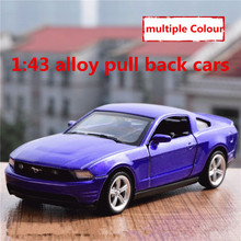 1:43 alloy pull back cars,high simulation ford mustang model,2 open door,matte paint,metal diecasts,toy vehicles,free shipping(China)