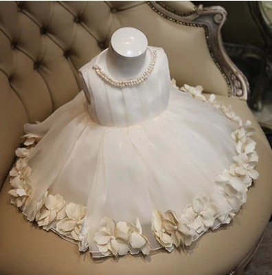 Childrens clothes girl princess white flower baby girl dress evening dress party dress<br>