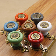 10pcs Cute Candy Color Ceramic Cabinet Handle and Knob Wardrobe Handle Children Bedroom Drawers Knob Dresser Pull