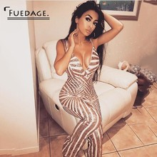 Buy Fuedage Overalls Women 2018 Summer Bodysuit Halter Straps Sequined Backless Playsuit Gold Striped Club Sexy Bodycon Jumpsuit